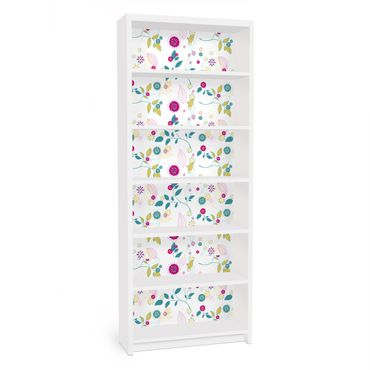 Carta adesiva per mobili IKEA - Billy Libreria - Flowers cocktail
