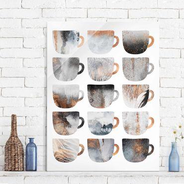Quadro in vetro - Grey tazze di caffè con oro - Verticale 4:3