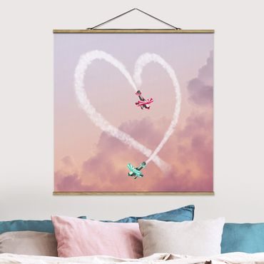 Foto su tessuto da parete con bastone - Cuore Con Aircraft - Quadrato 1:1