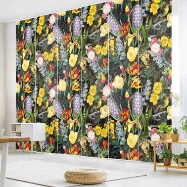 Tende scorrevoli set - Fiori Con Tropical Birds Stained - 6 Pannelli