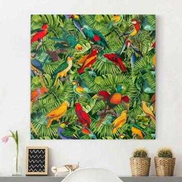Stampa su tela - Colorato collage - Parrot In The Jungle - Quadrato 1:1