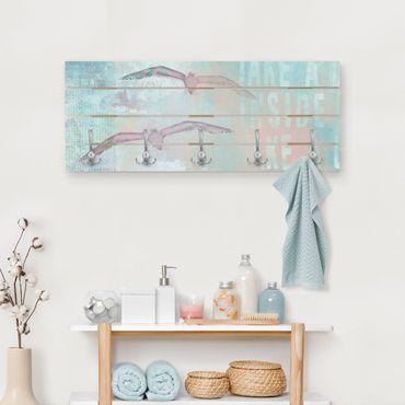 Appendiabiti in legno - Shabby Chic Collage - Gabbiani - Ganci cromati - Orizzontale