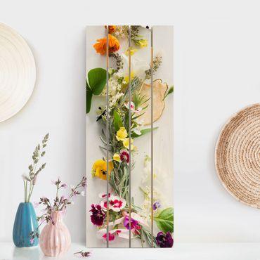 Stampa su legno - Fresco Erbe con fiori commestibili - Verticale 5:2