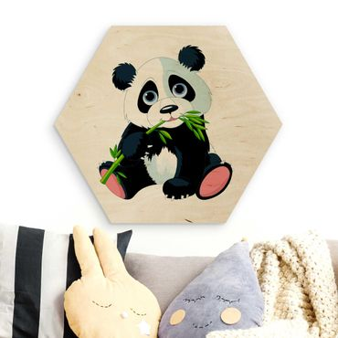 Esagono in legno - mangiare Panda