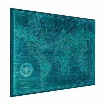 Lavagna magnetica - Vintage Mappa del mondo Azure - Formato orizzontale 3:4