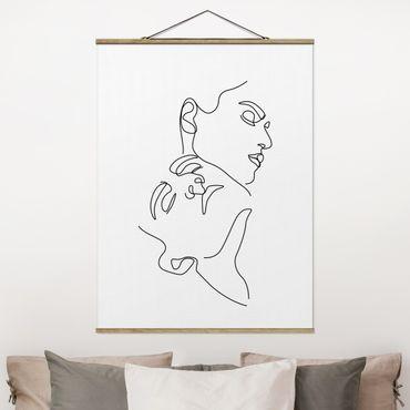 Foto su tessuto da parete con bastone - Line Art Women Faces Bianco - Verticale 4:3