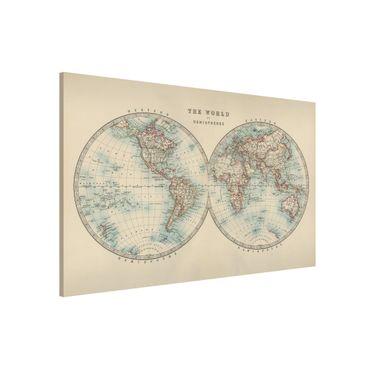 Lavagna magnetica - Mappa del mondo Vintage i due emisferi - Formato orizzontale 3:2