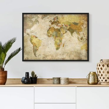 Poster con cornice - Map Of The World - Orizzontale 3:4