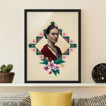 Poster con cornice - Frida Kahlo - Flowers And Geometry - Verticale 4:3
