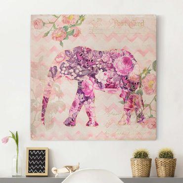 Stampa su tela - Vintage Collage - Pink Elephant Fiori - Quadrato 1:1