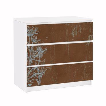 Carta adesiva per mobili IKEA - Malm Cassettiera 3xCassetti - Blue Flowers Sketch