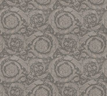 Carta da parati - Versace wallpaper Versace 3 Barocco Flowers in Marrone Grigio Metalizzato