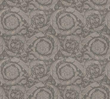 Carta da parati - Versace wallpaper Versace 3 Barocco Flowers in Marrone Grigio Metalizzato
