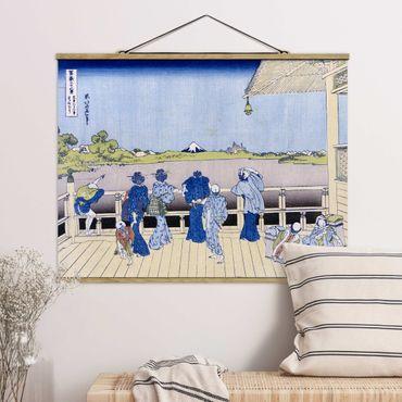 Foto su tessuto da parete con bastone - Katsushika Hokusai - La Sala Sazai - Orizzontale 3:4