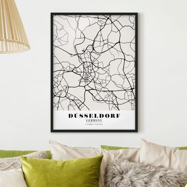 Poster con cornice - Dusseldorf City Map - Classic - Verticale 4:3