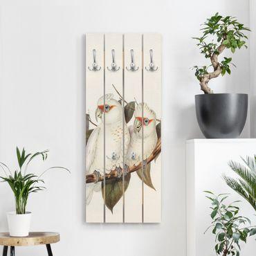Appendiabiti in legno - Illustrazione Vintage White Cockatoo - Ganci cromati - Verticale