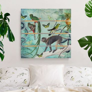 Stampa su legno - Coloniale Collage - Scimmie e uccelli del paradiso - Quadrato 1:1