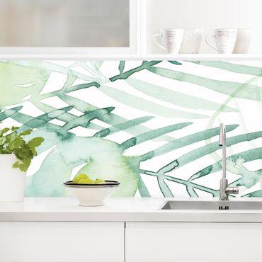 Rivestimento cucina - Foglie di palme in acquarello I