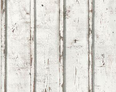 Carta da parati - A.S. Création Best of Wood`n Stone 2nd Edition in Crema Grigio Bianco