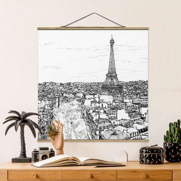 Foto su tessuto da parete con bastone - Città Studi - Parigi - Quadrato 1:1