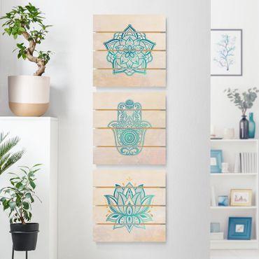 Quadro in legno effetto pallet - Mandala Hamsa mano Lotus Set oro blu - Quadrato 1:1