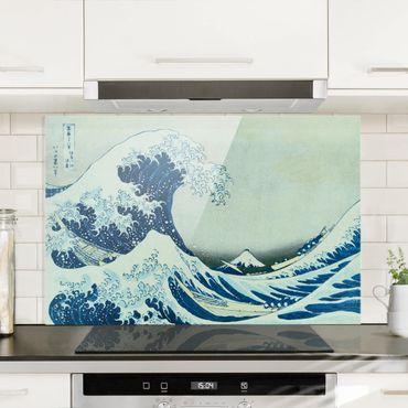 Spritzschutz Glas - Katsushika Hokusai - Die grosse Welle von Kanagawa - Querformat 2:3