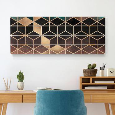 Stampa su legno - Elisabeth Fredriksson - Turchese Rosa d'Oro Geometria - Orizzontale 2:5