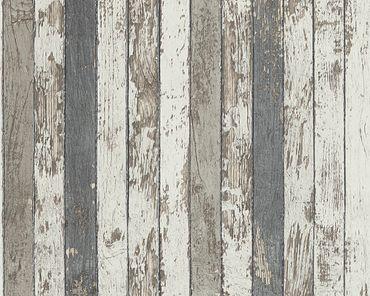 Carta da parati - A.S. Création Best of Wood`n Stone 2nd Edition in Marrone Grigio Bianco