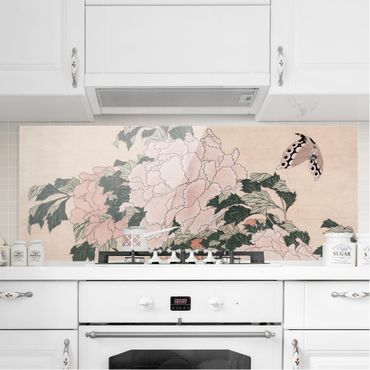 Paraschizzi in vetro - Katsushika Hokusai - Rosa peonie con la farfalla - Panoramico