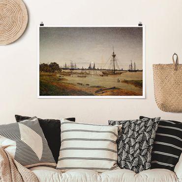 Poster - Caspar David Friedrich - Harbor al chiaro di luna - Orizzontale 2:3