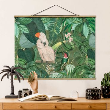 Foto su tessuto da parete con bastone - Vintage Collage - Kakadu e Hummingbird - Orizzontale 3:4
