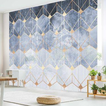 Tende scorrevoli set - Elisabeth Fredriksson - Blu Geometria Golden Art Deco - 6 Pannelli