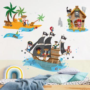 Adesivo murale - Pirate Ship Tesoro Islanda Mega Set
