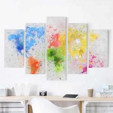Stampa su tela 5 parti - Colorful splashes world map
