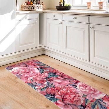 Tappeti in vinile - Trama di peonie rosse delicate in acquerello - Pannello