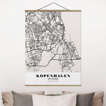 Foto su tessuto da parete con bastone - Mappa Copenhagen - Classic - Verticale 4:3