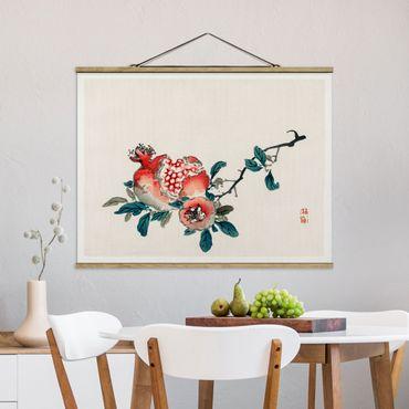 Foto su tessuto da parete con bastone - Disegno Melograno asiatico Vintage - Orizzontale 3:4