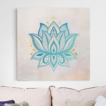 Stampa su tela - Lotus Mandala illustrazione oro blu - Quadrato 1:1
