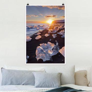 Poster - Pezzi di ghiaccio Sulla Spiaggia Islanda - Verticale 3:2