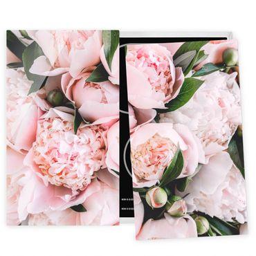Coprifornelli in vetro - Peonie rosa con foglie - 52x80cm