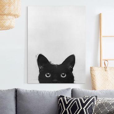 Quadri su tela - Illustrazione pittura Gatto Nero Su Bianco