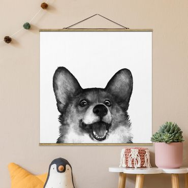 Foto su tessuto da parete con bastone - Laura Graves - Illustrazione Cane Corgi Bianco Nero Pittura - Quadrato 1:1