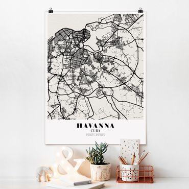Poster - Mappa L'Avana - Classic - Verticale 4:3