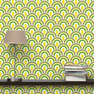 Carta da parati - No.TA99 Retro Pattern green-yellow