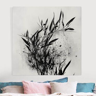Stampa su tela - Mondo vegetale grafico - Bambú nero - Quadrato 1:1