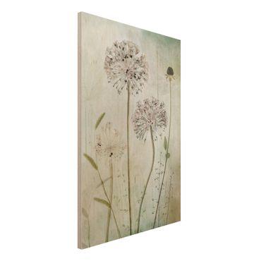 Quadro in legno - fiori Allium a pastello - Verticale 2:3