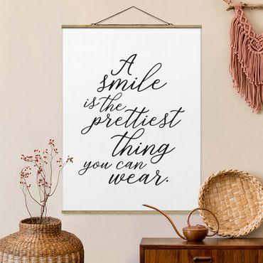 Foto su tessuto da parete con bastone - Un sorriso è la più bella cosa - Verticale 4:3