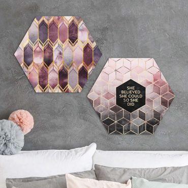 Esagono in Alu-dibond - Elisabeth Fredriksson - Credeva Art Deco oro rosa insieme Set I