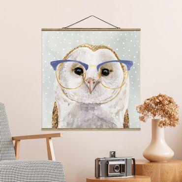 Foto su tessuto da parete con bastone - Animali Occhialuto - Owl - Quadrato 1:1
