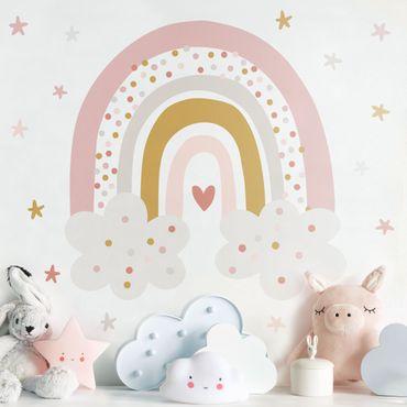 Adesivo murale - Arcobaleno con nubi Rosa